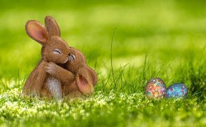 Osterhaase sitzt im grünen Gras mit Ostereiern