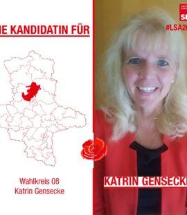 """rechts ist Katrin Gensecke zu sehen, links eine Karte von Sachsen-Anhalt und der Landkreis Wolmirstedt ist rot gekennzeichnet in der Mitte ist eine Nelke und oben steht """"Unsere Kandidatin für"""" unten dann """"Wahlkreis 08 - Katrin Gensecke"""""""