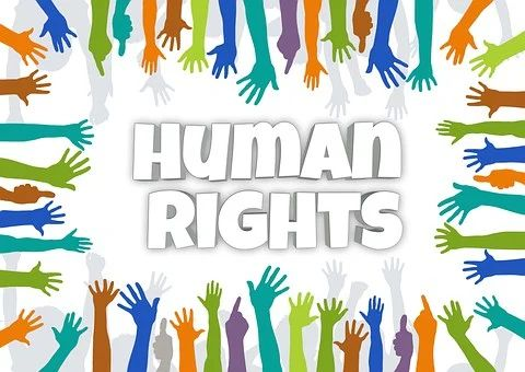 """viele verschiedenfarbige Hände greifen und zeigen von außen in einen imaginären Kreis, dort steht """"Human Rights"""""""